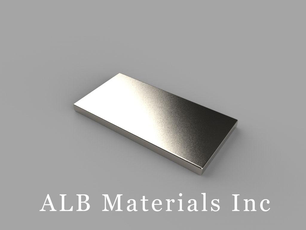BX081-N52 Neodymium Magnets, 1 inch x 1/2 inch x 1/16 inch thick