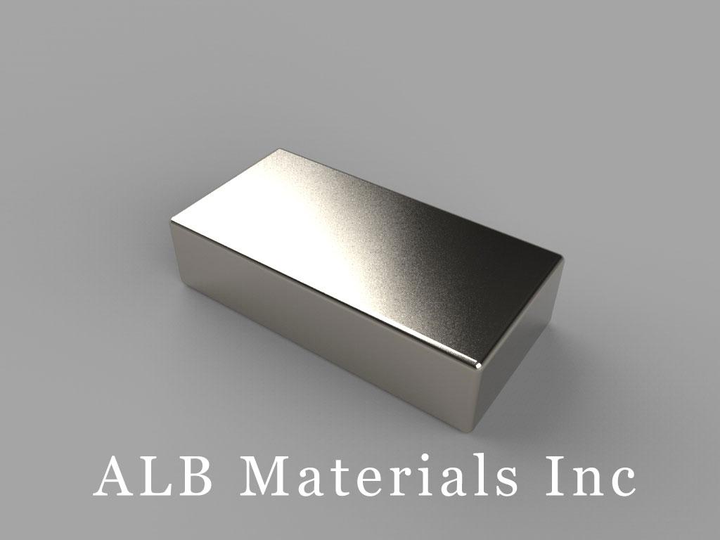 "BX084-N40 Neodymium Block Magnets, 1"" x 1/2"" x 1/4"" thick, Pull force(lbs): 17.06, Max Temp 80°C"
