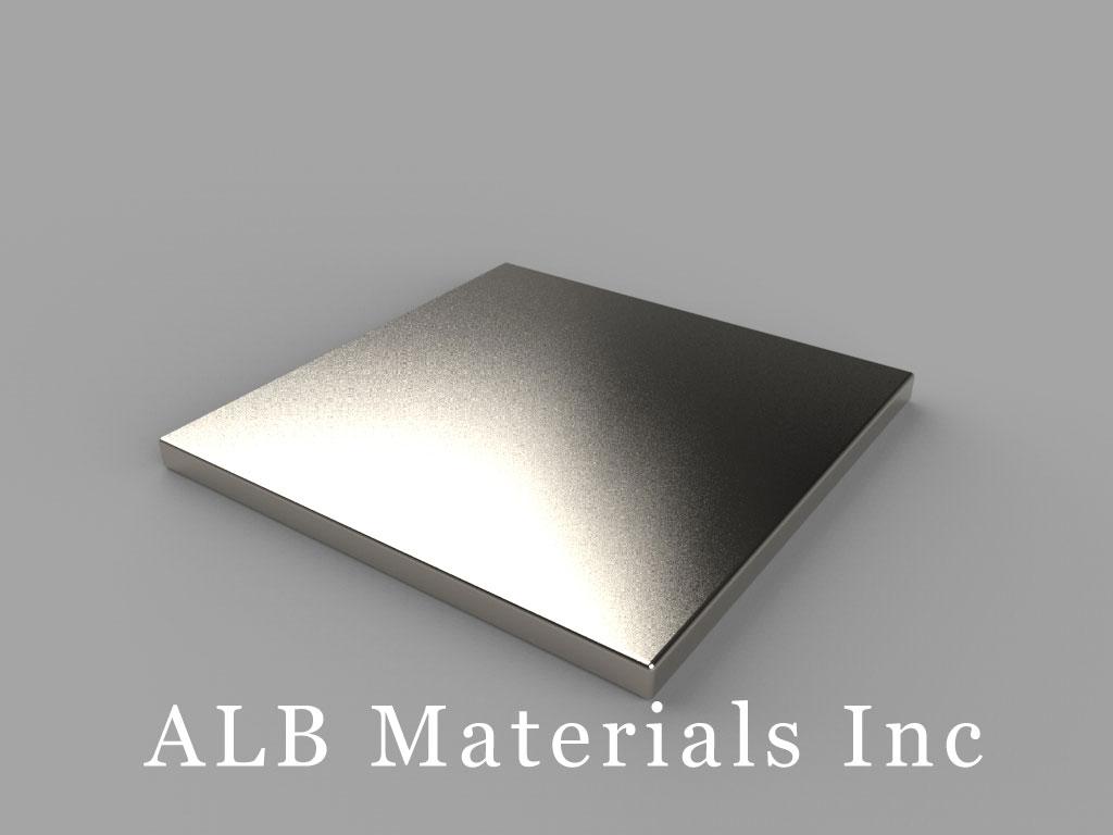 "BX0X01-N48 Neodymium Block Magnets, 1"" x 1"" x 1/16"" thick, Pull force(lbs): 7.31, Max Temp 80°C"