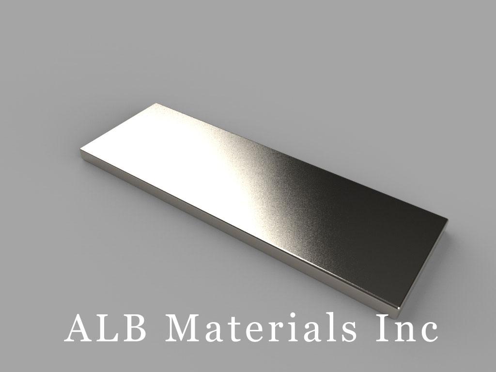 "BX881-N38 Neodymium Block Magnets, 1 1/2"" x 1/2"" x 1/16"" thick, Pull force(lbs): 4.98, Max Temp 80°C"