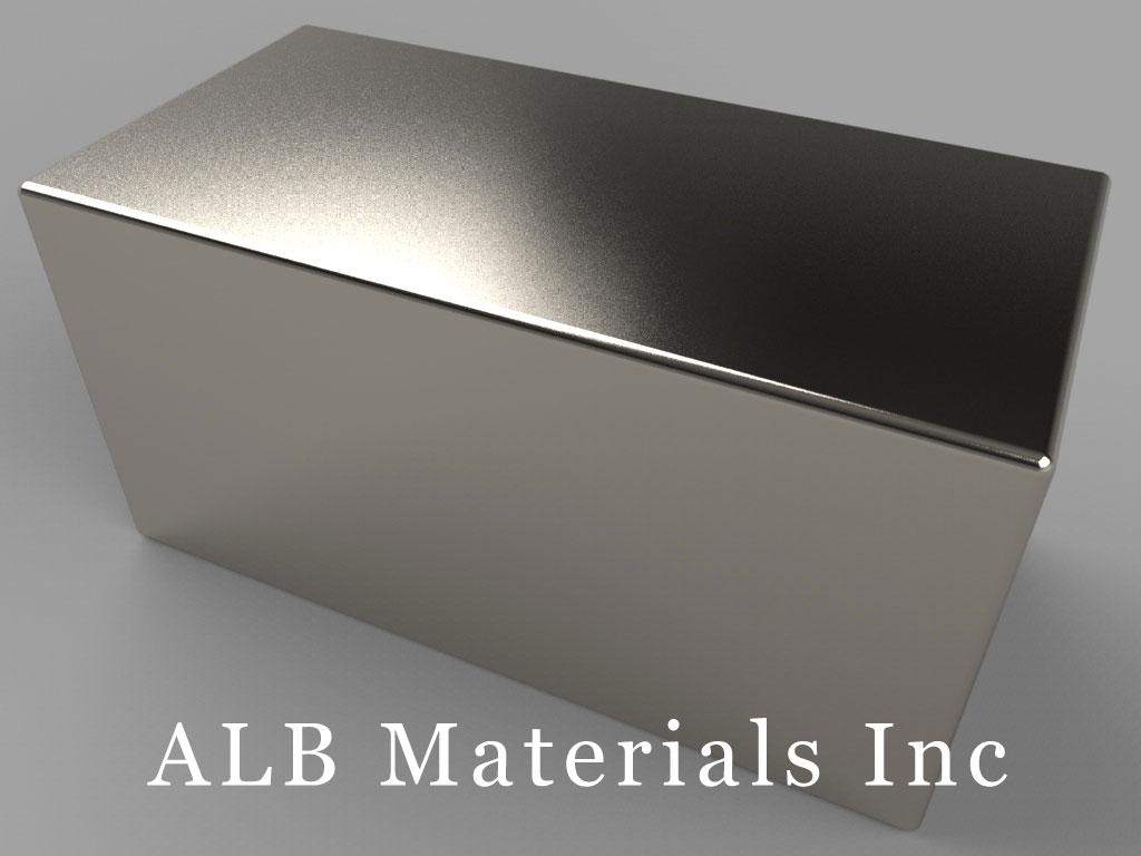 "BX8CC-N35H Neodymium Block Magnets, 1 1/2"" x 3/4"" x 3/4"" thick, Pull force(lbs): 67.55, Max Temp 120°C"