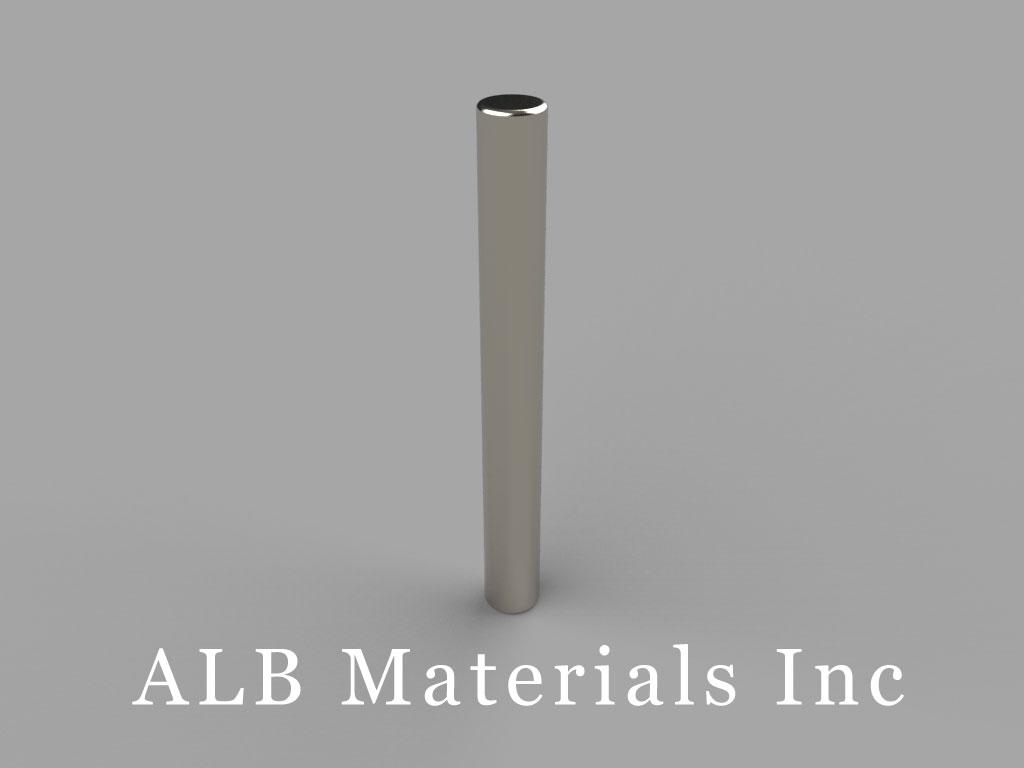 D2X2 Neodymium Magnets, 1/8 inch dia. x 1 1/8 inch thick