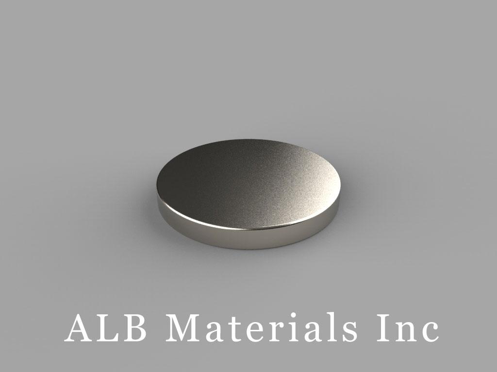 "DC03-N42M Neodymium Disc Magnets, 3/4"" dia. x 3/32"" thick, Pull force(lbs): 6.3, Max Temp 100°C"