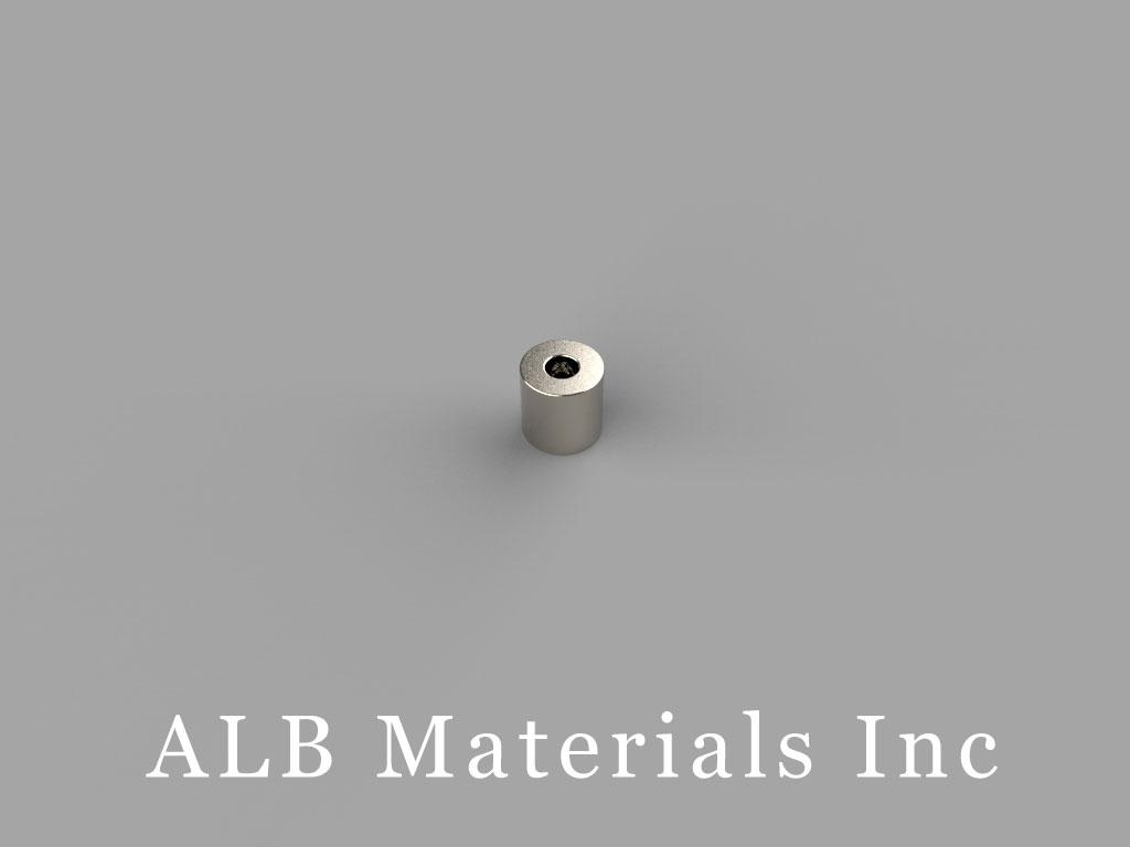 "R414CL Neodymium Magnets, 1/4""od x (1/10"" x 1/21"")x 1/4"""