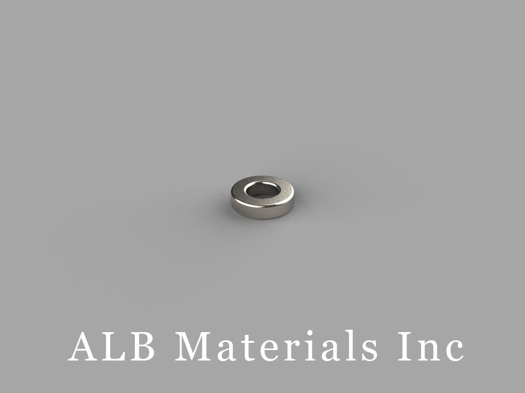R421 Neodymium Magnets, 1/4 inch od x 1/8 inch id x 1/16 inch thick