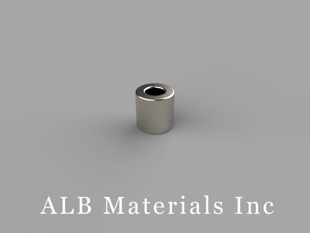R424DIA Neodymium Magnets, 1/4 inch od x 1/8 inch id x 1/4 inch thick