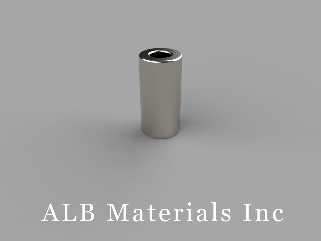 R428 Neodymium Magnets, 1/4 inch od x 1/8 inch id x 1/2 inch thick