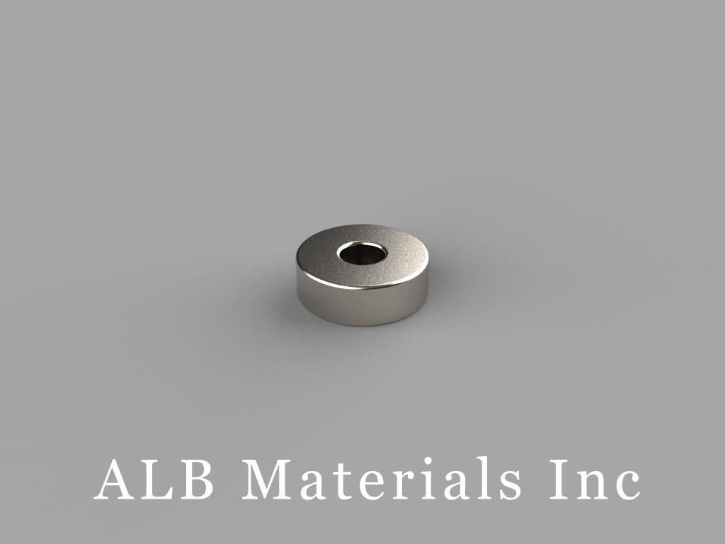 "R622 Neodymium Magnets, 3/8"" od x 1/8"" id x 1/8"" thick"