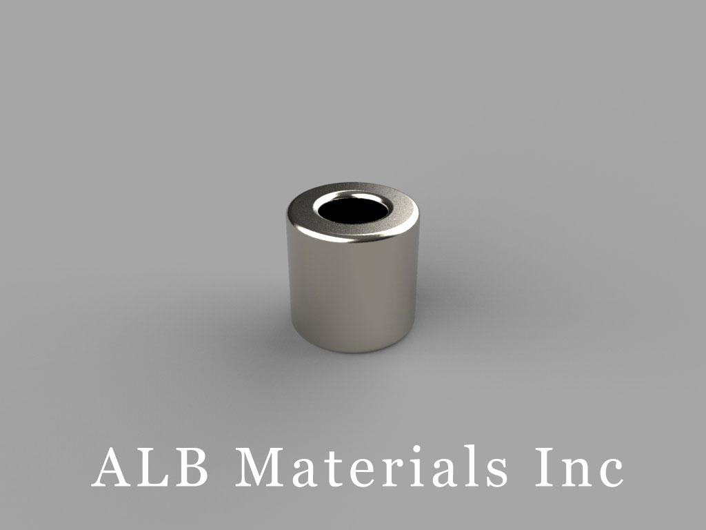 "R636 Neodymium Magnets, 3/8"" od x 3/16"" id x 3/8"" thick"
