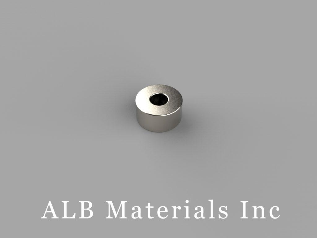 "R834DIA Neodymium Magnets, 1/2"" od x 3/16"" id x 1/4"" thick"