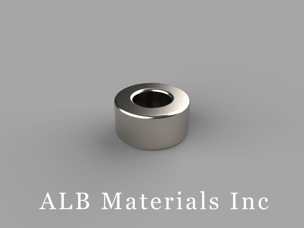 R844 Neodymium Magnets, 1/2 inch od x 1/4 inch id x 1/4 inch thick