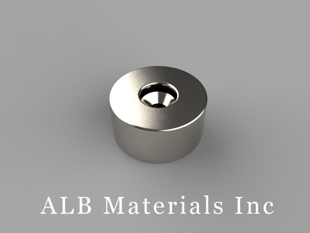 "RX038DCB Neodymium Magnets, 1"" od x 0.195"" id x 0.375"" id x 1/2"" thick"