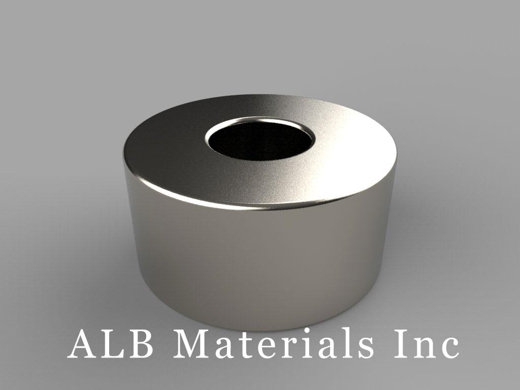 "RX068 Neodymium Magnets, 1"" od x 3/8"" id x 1/2"" thick"