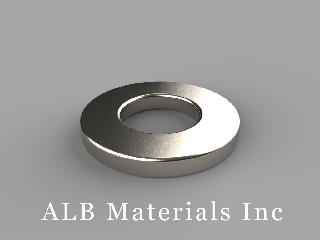 "RX082 Neodymium Magnets, 1"" od x 1/2"" id x 1/8"" thick"