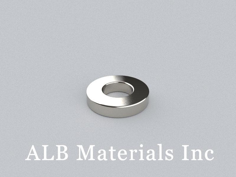 RX084-N48 Neodymium Magnets, 1 inch od x 1/2 inch id x 1/4 inch thick