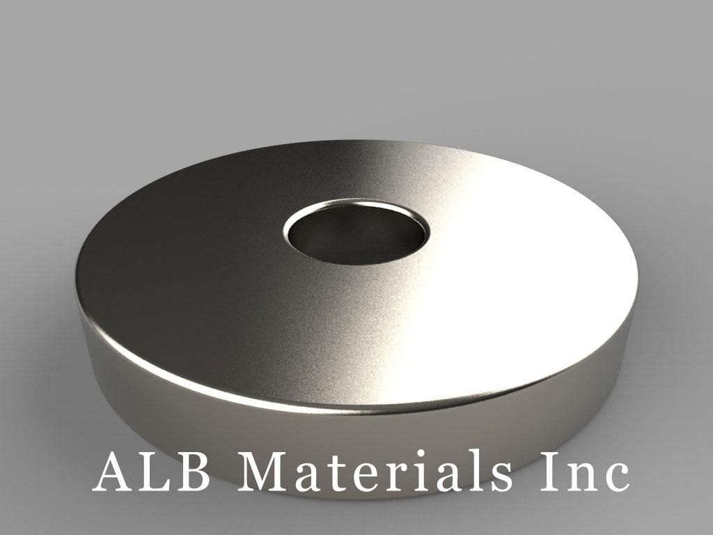 "RX864 Neodymium Magnets, 1 1/2"" od x 3/8"" id x 1/4"" thick"